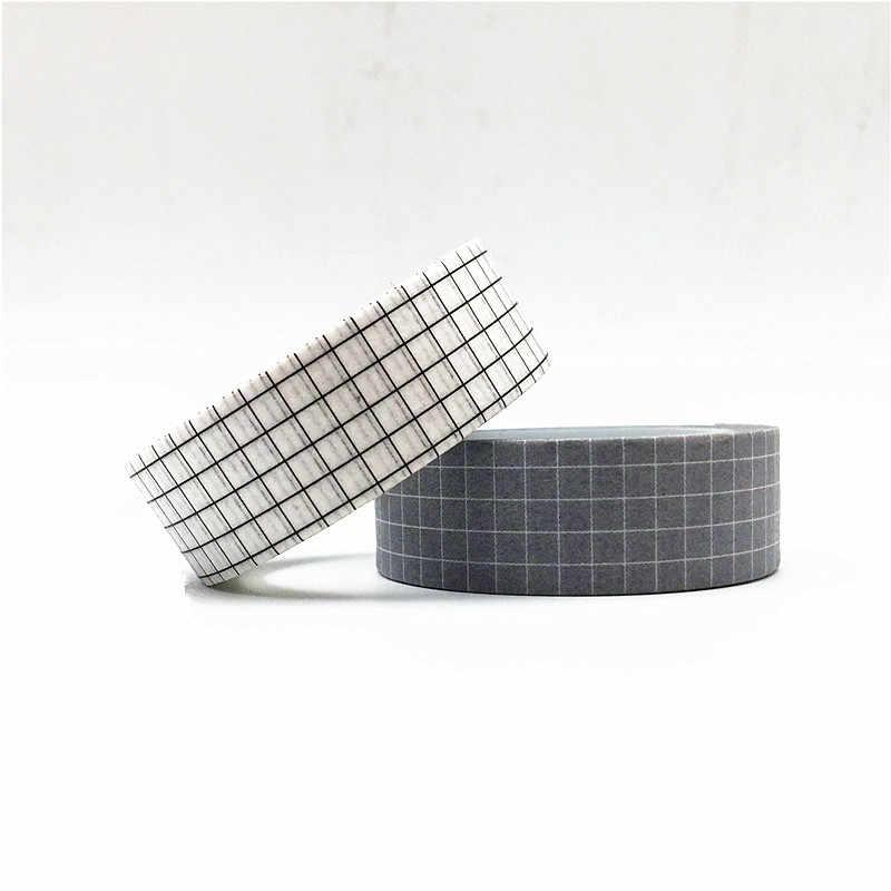 10M noir et blanc grille Washi ruban japonais papier bricolage planificateur ruban de masquage rubans adhésifs autocollants décoratifs papeterie