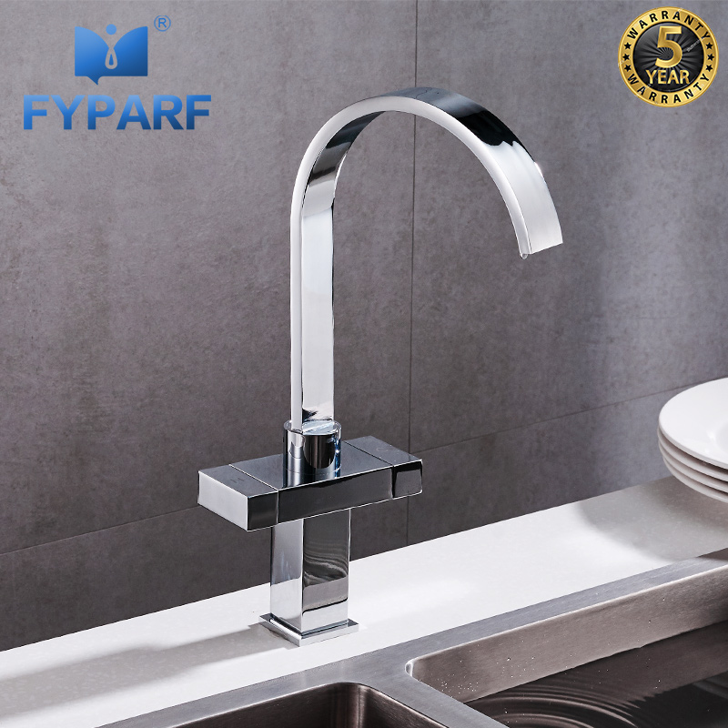 US $134.12 |FYPARF Waterfall Kitchen Faucet Polished Brass Contemporary  Kitchen Taps 360 Swivel Dual Handle Kitchen Mixer Crane Hot and Cold-in ...