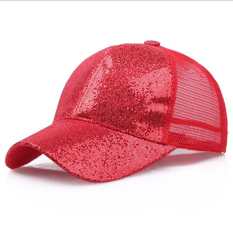 Женская бейсбольная кепка с хвостиком для девочек, летняя блестящая Кепка с блестящим блеском,, летние модные уличные спортивные солнцезащитные очки, головные уборы - Цвет: red