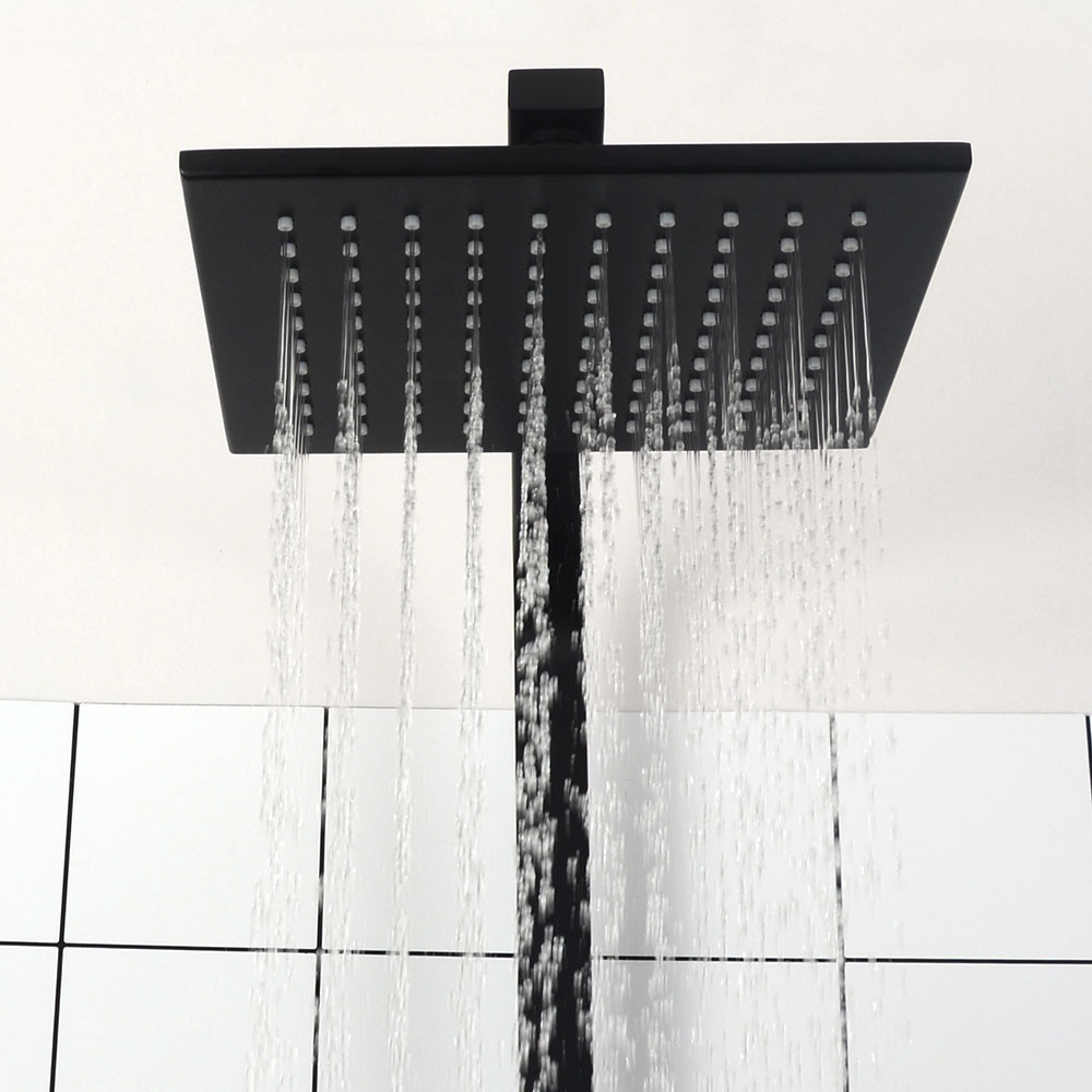 Bathroom Thermostatic Shower Faucet Solid Brass Matte Black Rain Shower Set Wall Mounted Water Mixer Luxurious Shower Kit.