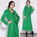 Весна осень мода дизайнер женщин кружева х длиной пальто, дамы женщины европейский стиль двойной брестед тонкий XXXL пальто