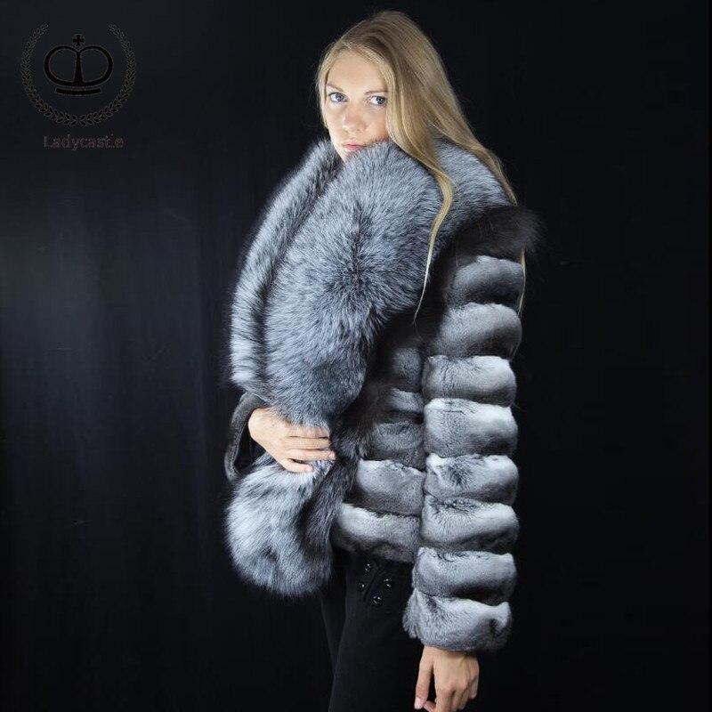Rb Manteau D'hiver 2018 Fourrure De Peau Black Lapin Veste Nouvelle Avec Réel Chinchilla Court Grand Rex Ruban Renard Col 046 qwqSF0T