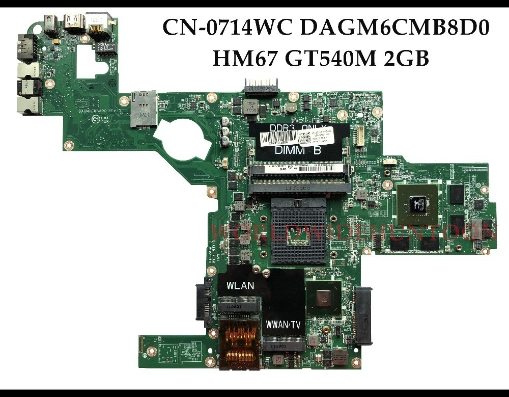 Высококачественная версия для материнской платы ноутбука Dell XPS L502X DAGM6CMB8D0 HM67 PGA989 DDR3 GT540M 2 Гб I7 процессор