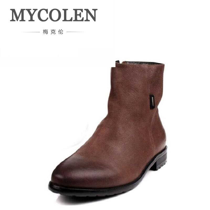 MYCOLEN Brown / Black Pointed Toe Chelsea Boots Zipper Mens Ankle Boots Genuine Leather Rivet Men's Dress Shoes Men Chuteira mycolen spring autumn men genuine leather chelsea boots vintage pointed toe ankle outdoor boots wear resistant male shoes