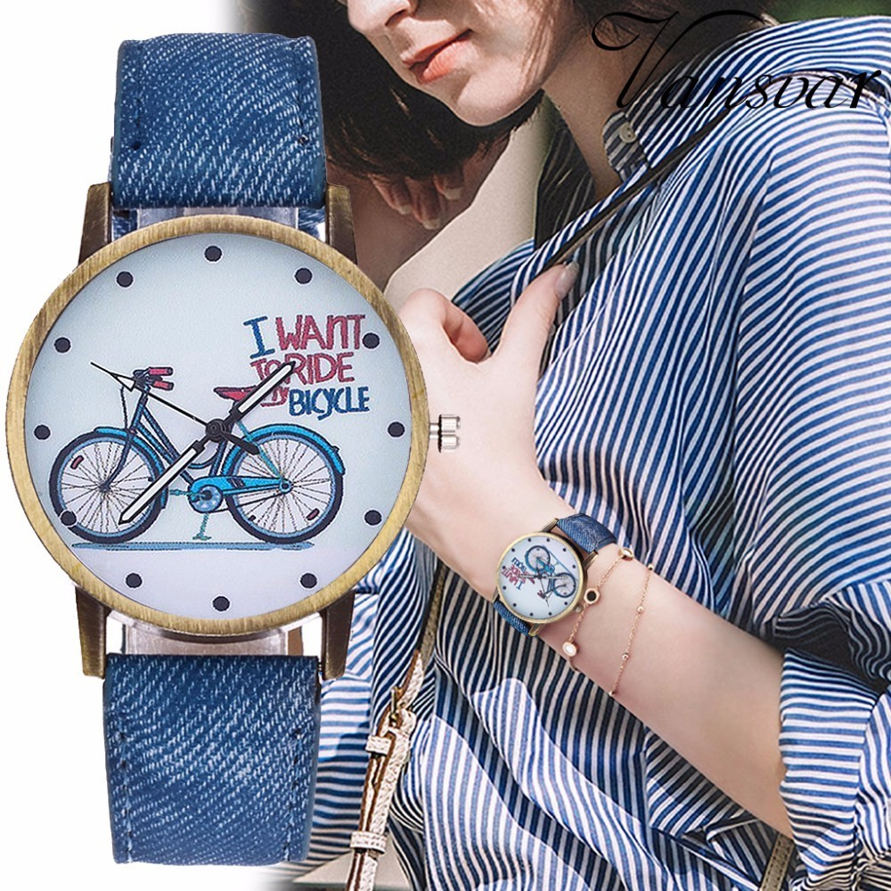 Hot Vintage Jeans Strap Watch For Women Leather Bike Watch Fashion Casual Ladies Wrist Watch Relogio Feminino Drop Shipping