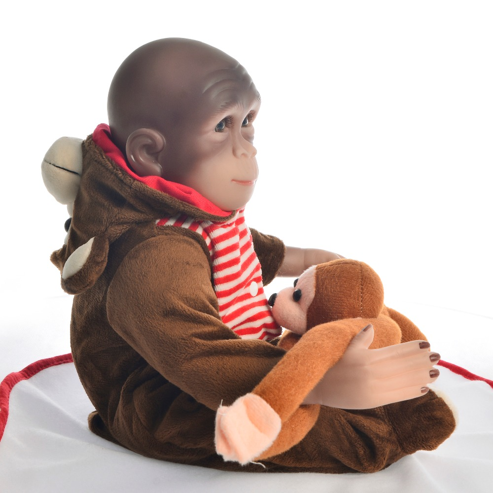 46cm Realistic Cartoon monkey dress up Reborn Doll Silicone Reborn Dolls Sculptor new product Newborn Baby Photography Prop Toys in Dolls from Toys Hobbies