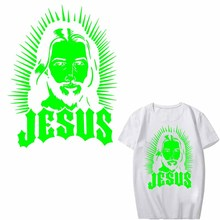 Glow In The Dark Luminous Jesus Patch Iron on Transfers for Clothing DIY T-shirt Applique Heat Transfer Vinyl Ironing Stickers