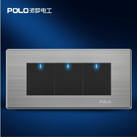 Free Shipping, POLO Luxury Wall Light Switch Panel, 3 Gang 1 Way Switch, Push Button LED Switch, 10A, 110~250V, 220V 10a universal socket and 3 gang 1 way switch wallpad 146 86mm white crystal glass 3 push button switch and socket free shipping