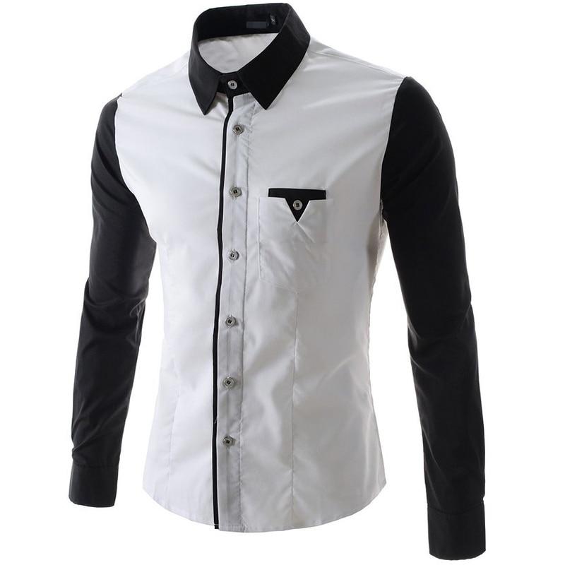 Popular Black Shirt White Collar and Cuffs-Buy Cheap Black Shirt ...