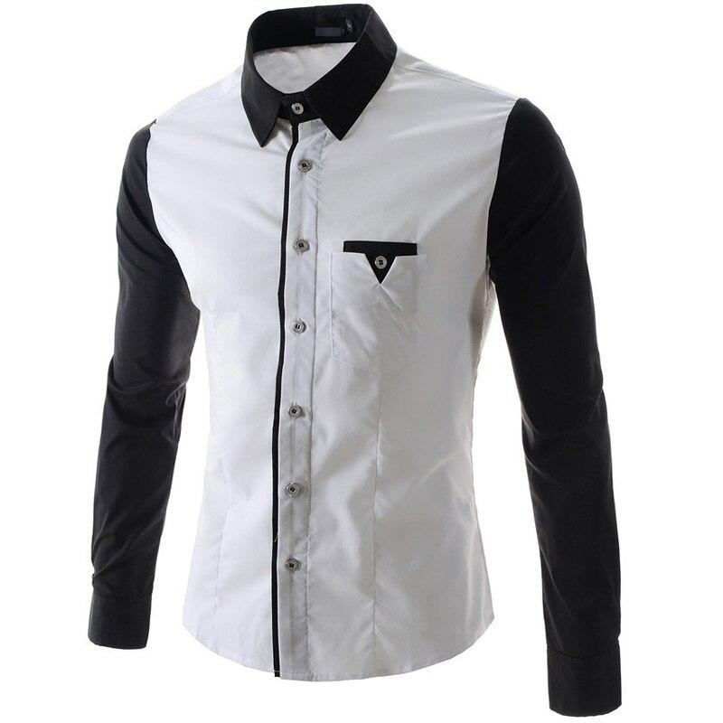 2016New font b Mens b font Dress font b Shirts b font Solid Black White Fashion