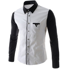 2016New Mens Dress Shirts Solid Black White Fashion Men's Cuff Stitching with Unique Pocket Long Sleeve Men Shirt Plus 2XL CS15