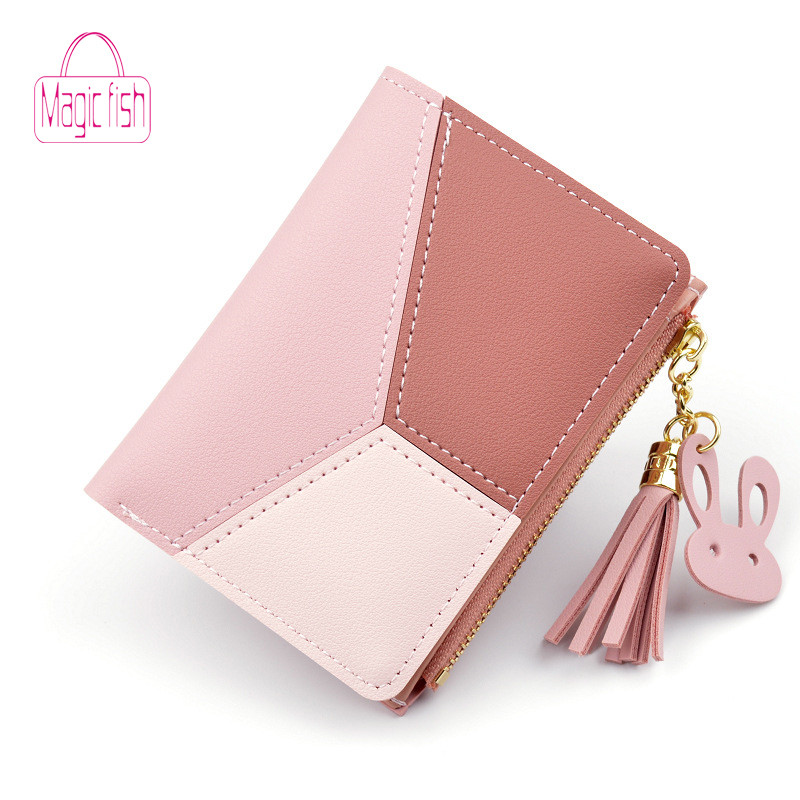 Magic Fish Wallet Women Wallet Zipper Purse Patchwork Fashion Panelled Short Wallet Trendy Coin Purse Card Holder Leather