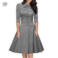 LZJ Plus Size New Elegant Retro Charming Feminine Dress 7 Points Sleeves Print Flowers Bow Button