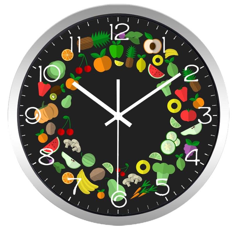 US $22.8 40% di SCONTO|Verdura e Frutta Orologio Da Parete, metallo di  Qualità del Vetro Design Cucina Dieta Nutrizione Pasto Orologio-in Orologi  da ...