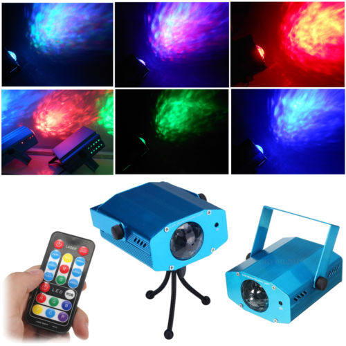 цены AOBO Lighting IR Remote 3W RGB LED Water Wave Ripple Effect Stage Light lighting Laser Projector with Mini Tripod for Party Show
