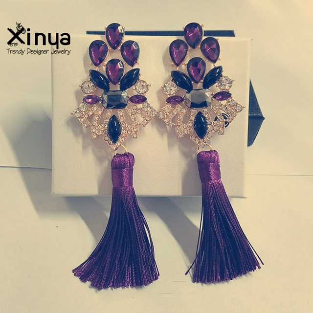 Women Trendy Crystal Gold Plated Long Drop Tassel Statement Earrings