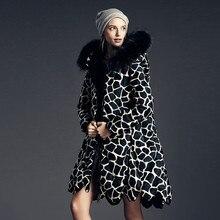 Nice new Europe brand design down parkas women casual giraffe print fur collar lacecollar hem duck down long jackets coats S2628