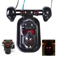 Universal New Motorcycle Rear Black Skull Brake Tail Light Turn Signal Kit Fit For Harley Bobber