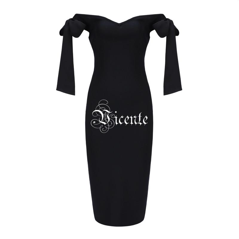 Robe Arc Conception Mode Chaude Midi Celebrity En cou De Hors Noir Party Bandage Wear V Sexy Gros Vicente L'épaule wEXqt5nFX