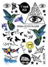 LC 879 Geometric Temporary Body Tattoos Hummingbird Electric Bulb Paper Boat Eye Temporary Body Tattoo Unisex