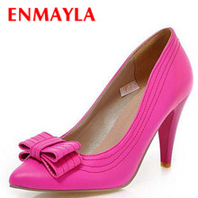 ENMAYER New size 34-43 fashion Sexy  Yellow Pink peach Bowtie Thin Heels High shoes Pointed Toe women pumps shoes platform pumps brand new fashion red black pink purple dark green women nude pumps ladies high heels bowtie shoes ahc668 plus big size 10 43
