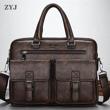 ZYJ мужские деловые дорожные кожаные портфели для ноутбука, мужские сумки, повседневные сумки-мессенджеры, портфель на плечо, портфель, сумка, сумка