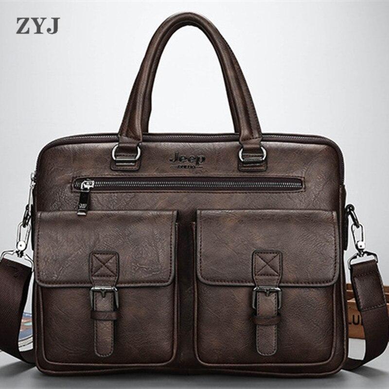 ZYJ Men Business Travel Leather Laptop Briefcase Male Bags Causal Sling Messenger Shoulder Portfolio Briefcase Bag Handbag
