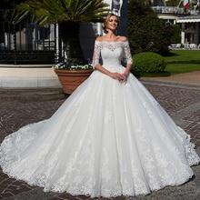Vestido de Novia de media manga con cuello de barco, Vestido de boda con perlas