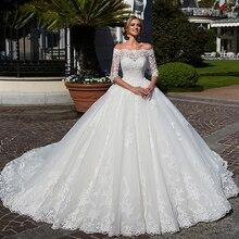 Vestido de Novia pół rękawa suknia ślubna suknia ślubna szyi łodzi księżniczka szata de Mariee perły Wasit Trouwjurk suknie ślubne