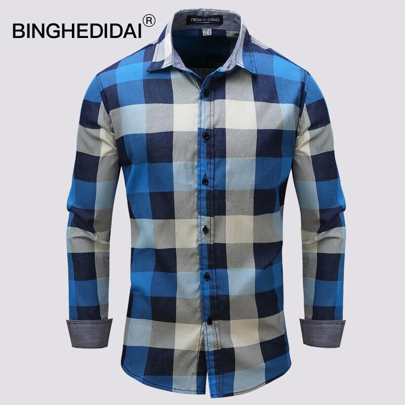 2018 Fashion Male Shirt Long Sleeves Tops Slim Casual Flannel Mens Dress Shirts Slim Men Shirt Casual Male Shirts