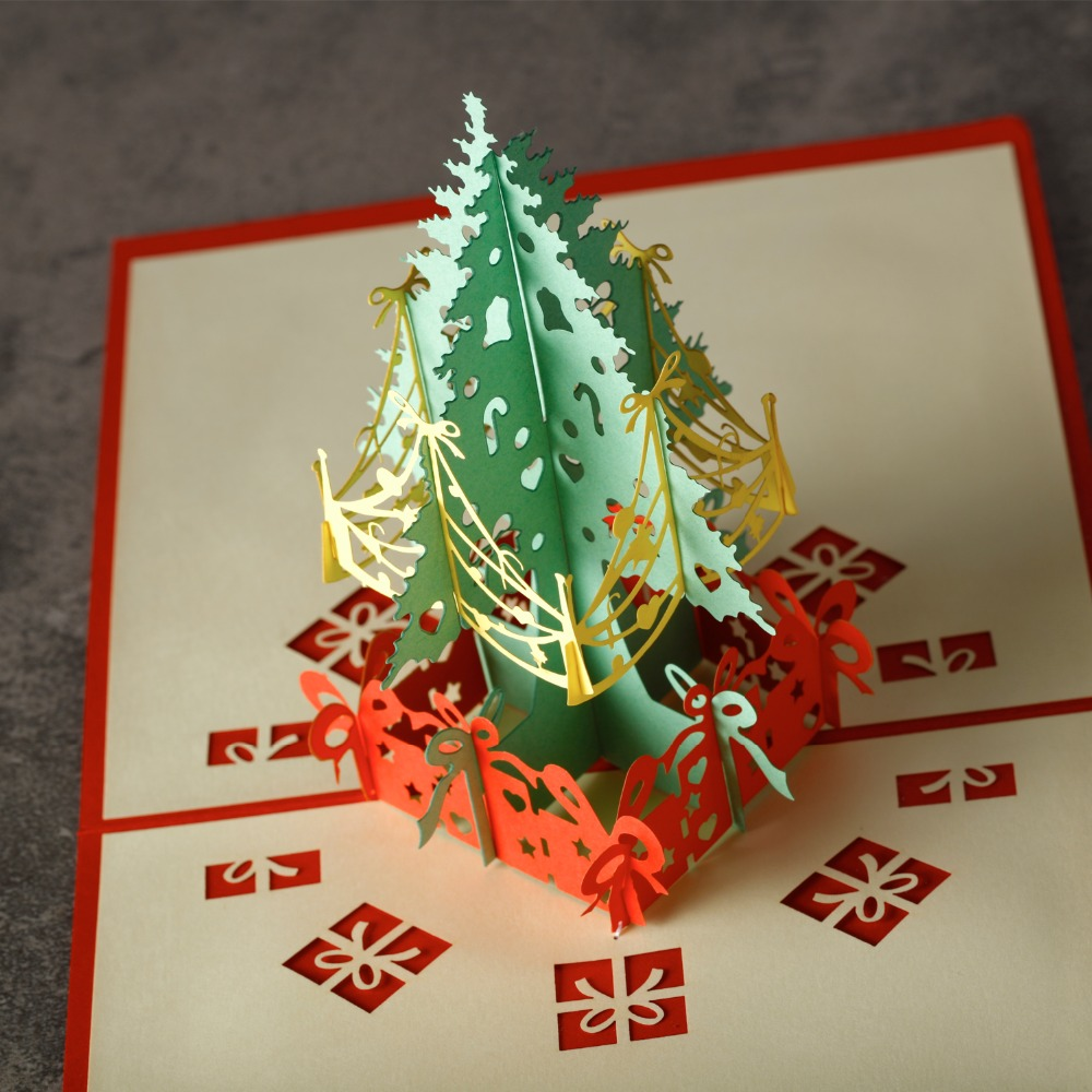 10pcslot christmas greeting card xmas tree cards 3d laser cut 10pcslot christmas greeting card xmas tree cards 3d laser cut handmade for natal party invitation card gift post card in cards invitations from home m4hsunfo