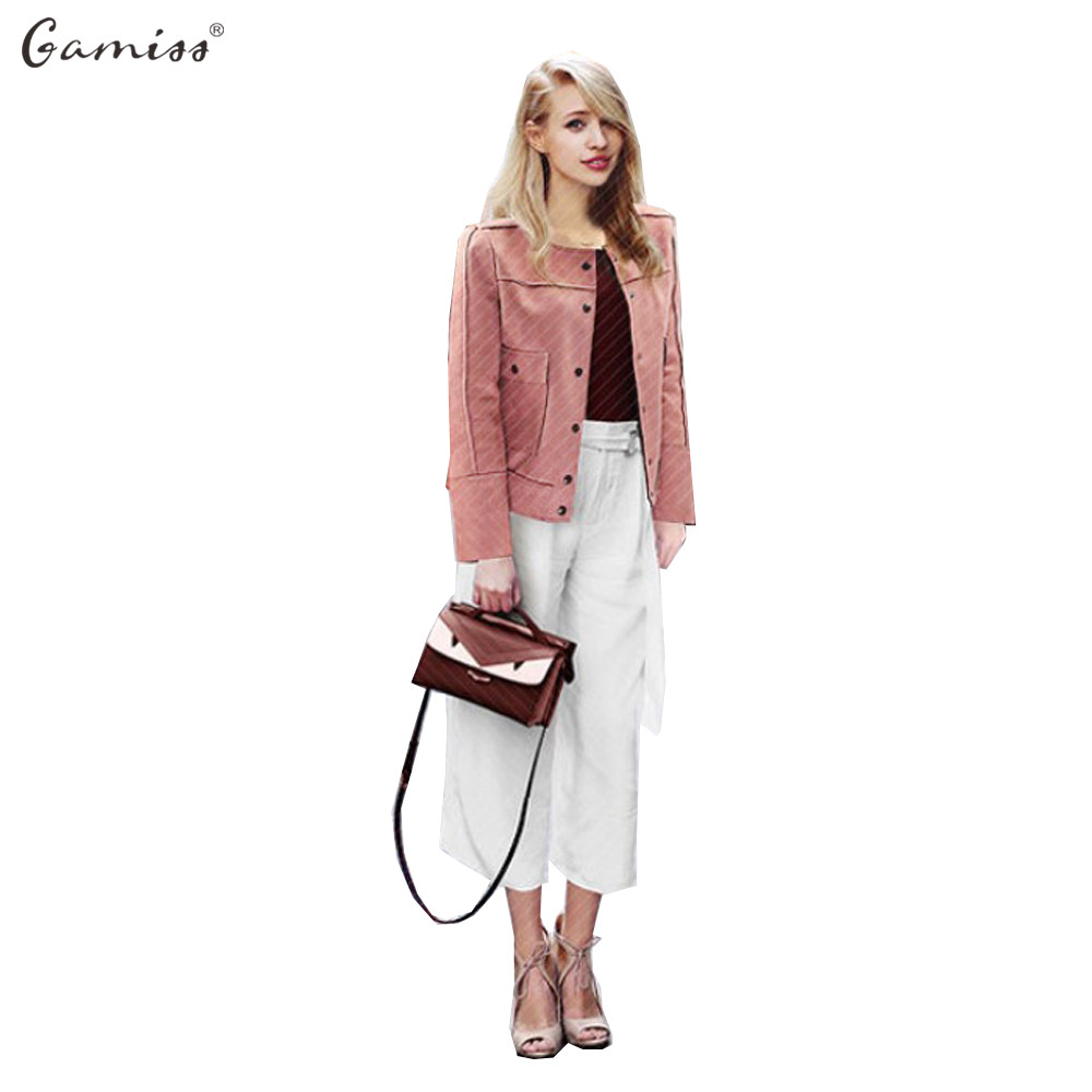 Gamiss Spring Women Plus Size Basic Jacket Autumn Spring Pink Lady Short Outwear Coats vintage Chamois Leather Suede jacket