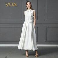 VOA тяжелый шелк плюс Размеры 5XL одноцветное белое длинное платье без рукавов Высокая Талия Тонкий поддельные два набора ремень Для женщин оф