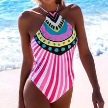 4ef74709a04 Print Ethnic Stripe Swimsuit Women Bandage One Piece Swimwear Halter  Monokini Bandage Swimming Suit Bodysuit(