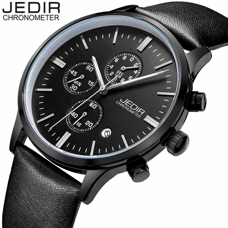 Mens Watches Top Brand Luxury JEDIR Fashion Casual Leather Quartz Watch Men Sport Chronograph Wristwatch relogio masculino mens watches top brand luxury jedir quartz watch chronograph luminous clock men military sport wristwatch relogio masculino