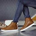 Homens de Moda de Nova Ankle Boots Alinhado Pele de Inverno Outono WarmLace-Up Botas plana Martin Botas Sapatos Masculinos Suave Simples Casual Macio Dec28