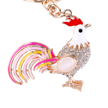 2017 New Arrival Pretty Chic Opals Cock Rooster Keychains Crystal Chicken Key Chain Women Bag Pendant