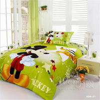 comforter bedding sets 100% Cotton Green Mickey Mouse Printing Cartoon Style Duvet Cover Set 3pcs Home Textile Quilt Cover