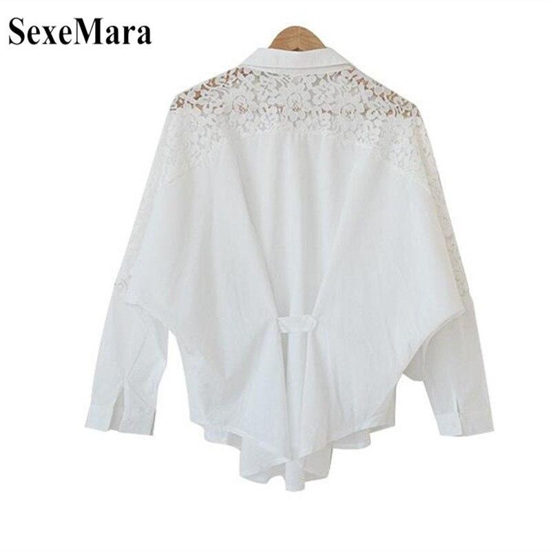 SexeMara 2019 New Spring And Autumn Korean Women's Large Size Lace Stitching Lapel Long Sleeve Chiffon Shirt Black White S-XL (8)