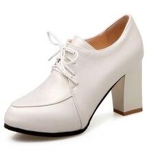 DoraTasia Sexy Super High Thick Heel Pumps For Woman More Colors Lace Up Platform Women Shoes Big Size 34-43 Simple OL Shoes