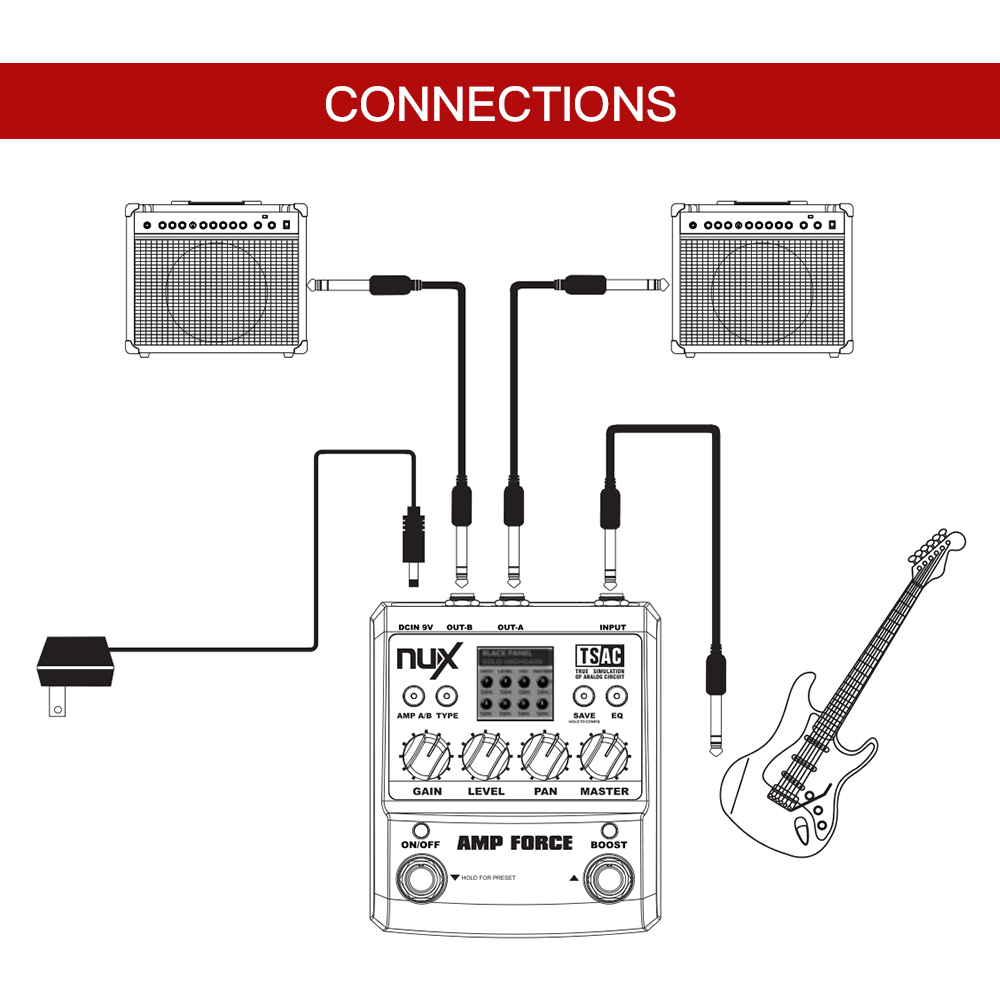 Nux Amp Force Guitar Modeling Amplifier Simulator Electric Diagram Parts Of The Effect Pedal 12 Models Screen Partsaccessories In Accessories From