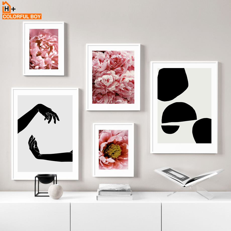 Pink Rose Flower Abstract Hands Stone Wall Art Canvas Painting Salon Nordic Posters And Prints Wall Pictures For Living Room in Painting Calligraphy from Home Garden