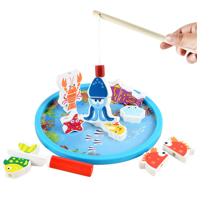 kids classic kitchen cutting Toy + Fishing toy for baby  Magnetic  Infant  toys wooden children Multifunctional Puzzle toy  CU86