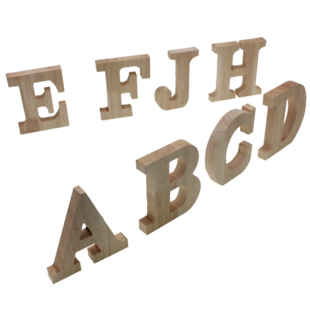 RUNBAZEF Decor Color Wooden Letter 26 Wood English Alphabet Letters Home Wedding Party Tools Decoration Number DIY Handcrafts 4