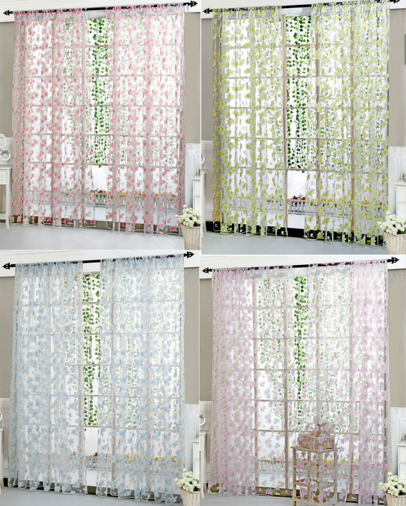 Colorful Floral Tulle Voile Door Window Curtains Sheer
