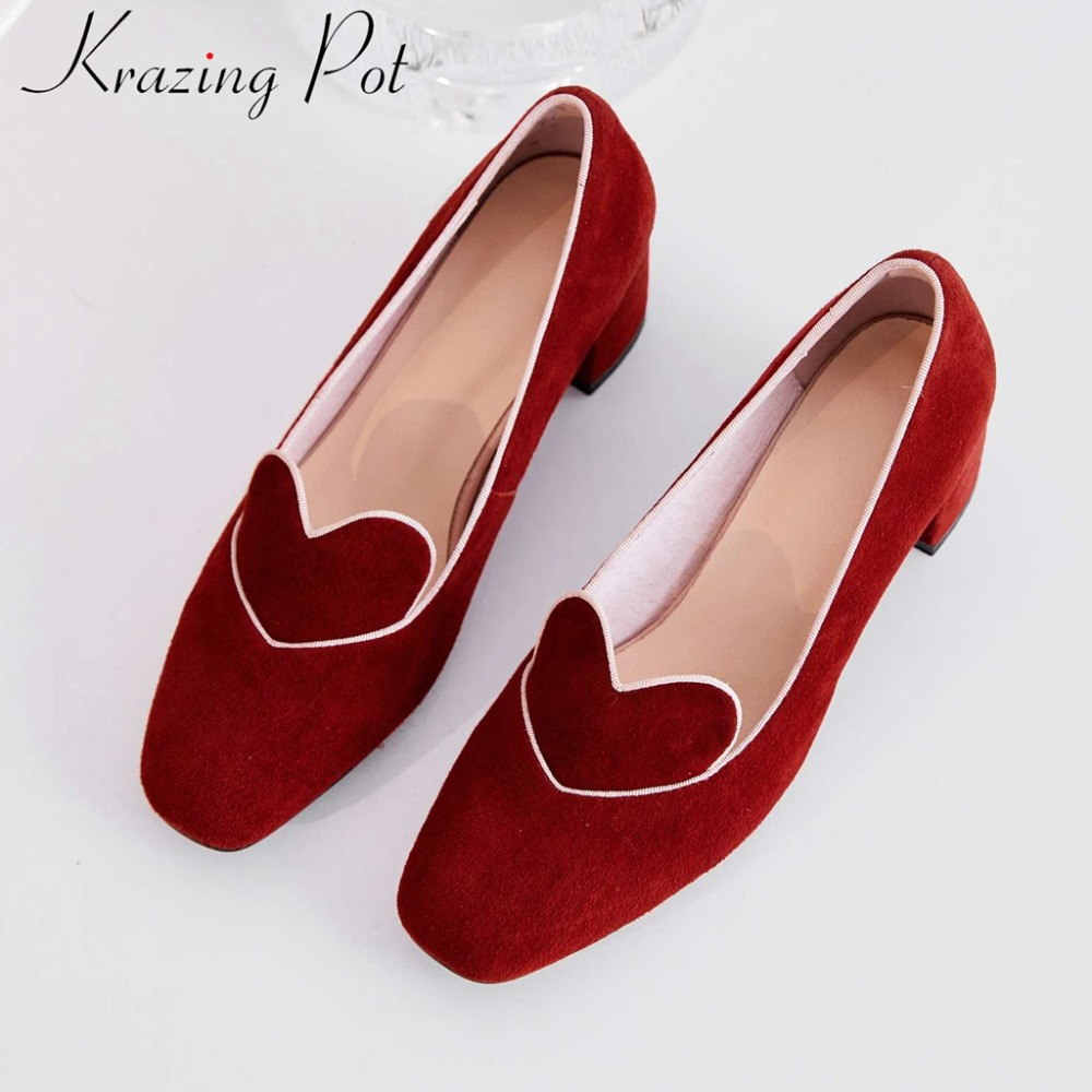 Krazing Pot Comfortable Genuine Leather Chunky Med Heels Slip On Office Lady Concise Dress Dating Pumps Square Toe Shoes L06
