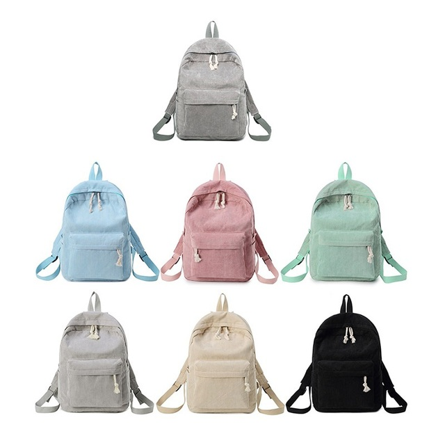 Miyahouse Preppy Style Soft Fabric Backpack Female Corduroy Design School Backpack For Teenage Girls Striped Backpack Women 2