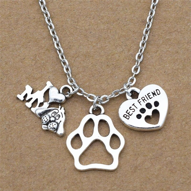 New I Love My Dog Lover Gifts Cute Best Friend Heart Dog's Paw Pendants Necklace image