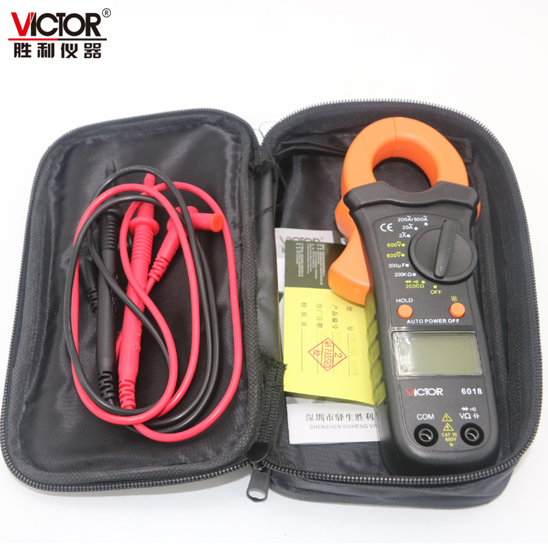 Victor genuine clamp multimeter VC6018 clamp meter digital ammeter 2A-600A backlight capacitor victor 6050 digital clamp meter