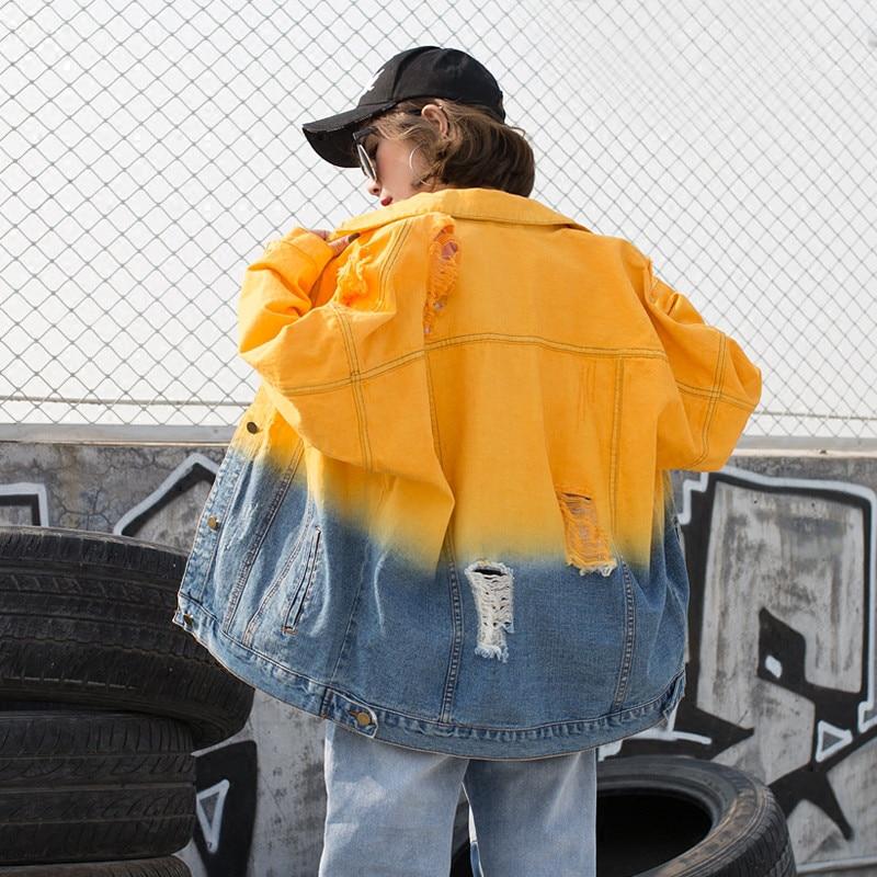 Caramella Giacca Coreana Studenti Strano 2018 Della Di Ragazza Autunno Cappotto Versione Sciolto Foro Contrasto yellow Primavera Donne Blue Nuovi Harajuku X60 Colore Delle Jeans FxHCq74w